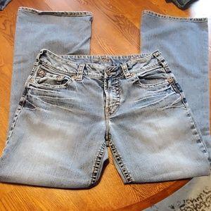 "Silver Jean's, size 31W x 30L, w/9"" rise."